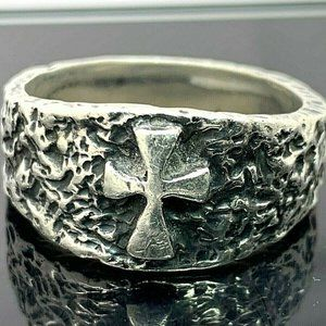 JAMES AVERY Sterling Textured Cross Unisex Ring 11